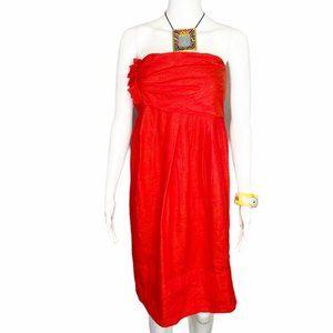 Vera Wang linen and silk strapless lined dress